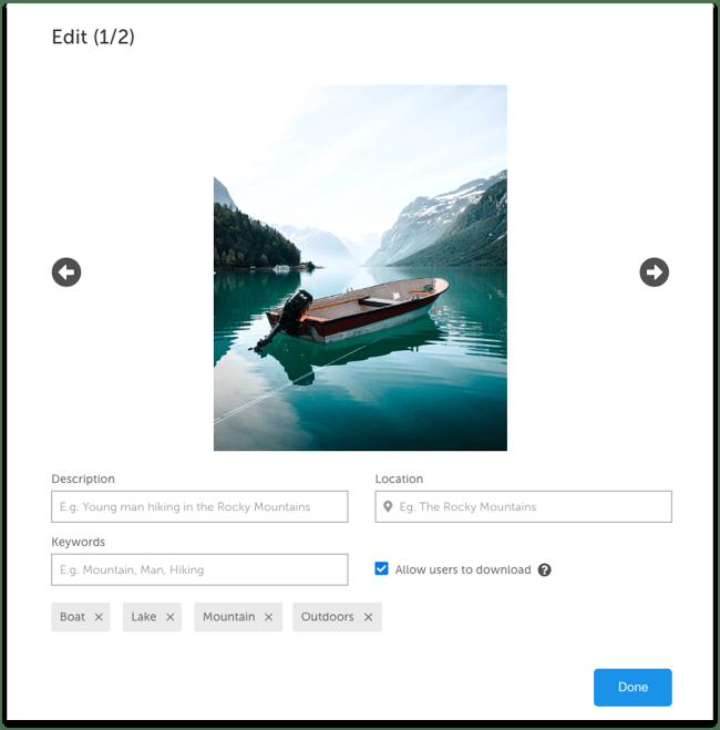 Upload modal - edit